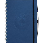 blue hardbound spiral journal notebook