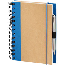 recycled wirebound notebook with royal blue fabric accents